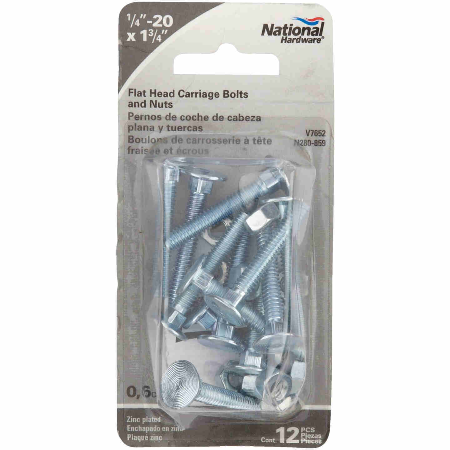 Prime-Line 1/4 In.-20 x 1-7/8 In. Zinc Plated Carriage Bolts With Nuts Image 2