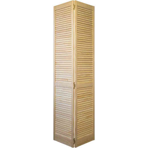 Jeld Wen 30 In. W. x 80 In. H. Pine Louver/Louver Natural Color Bifold Door
