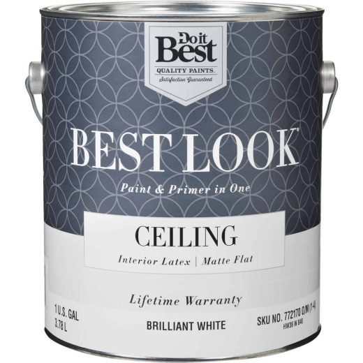 Best Look Latex Paint & Primer In One Matte Flat Ceiling Paint, Brilliant White, 1 Gal.